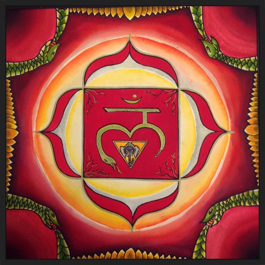 Primer paso metafísica, el enraizar, un punto de partida. Chakra asociado con la tierra, la eliminación, el cóccix- la seguridad, el excretar, dirigirse. Fundamento psíquico del cuerpo energético, la base de nuestra percepción. Practicas que lo estimulan y estabilizan: cantar el bijmantra Lam, practica de asana utilizando mula bandha.