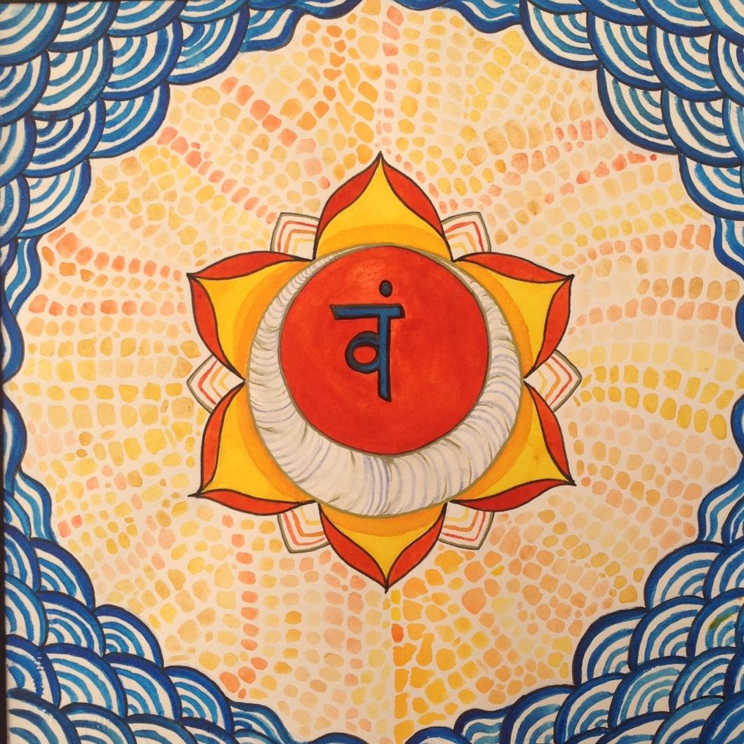 of the sacrum or pubic bone, activated by chanting bijmantra vam. Seigaha pattern is used to emphasize the connection to waves of our shared imagination... Swadhistana chackra ( olas & impresiones) se centra en el inconsciente, potencia, emoción, miedo y los sueños. En el campo físico, se dice que yace a la altura del sacro, y se relaciona con el gusto, la sexualidad, el deseo y el procrear. Se activa cantando el bijmantra vam. Aquí, se emplea el patrón seigaha a remarcar su conexión con las olas de nuestra imaginación colectiva.