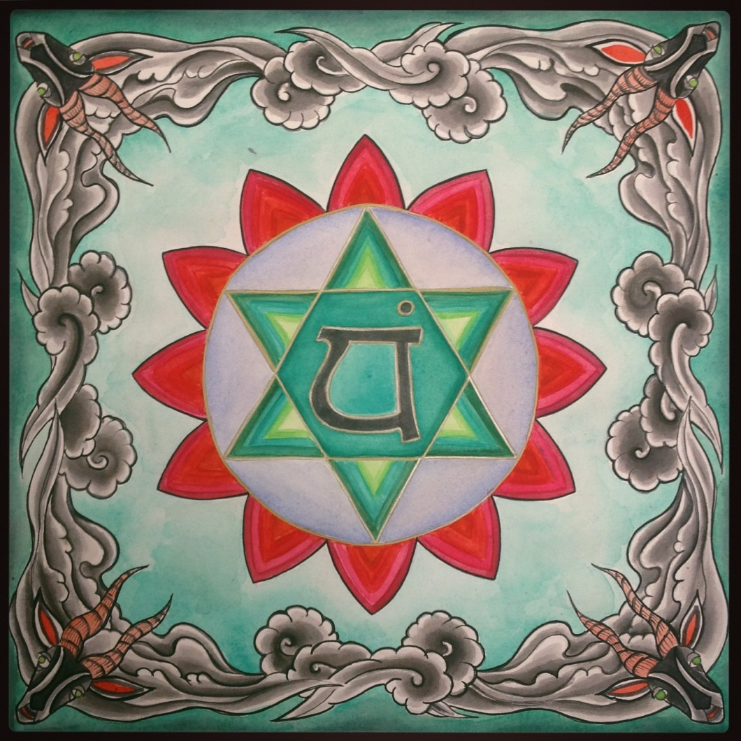 Watercolor anahata chakra by cordelia szaton